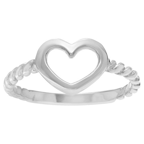 Women's Journee Collection Rope Heart Ring in Sterling Silver - Silver - image 1 of 2