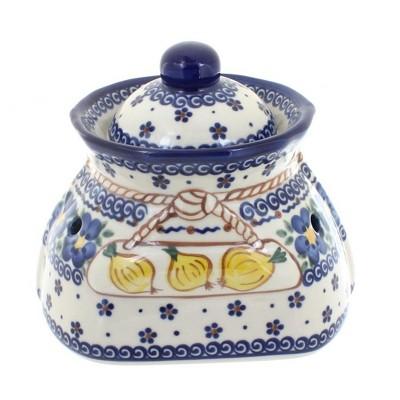 Blue Rose Polish Pottery Spring Blossom Small Garlic Keeper