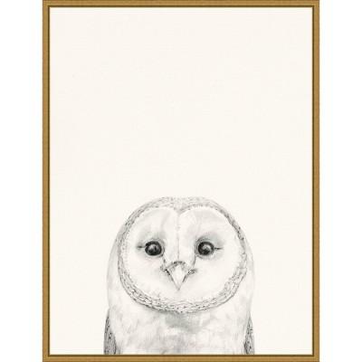 "18"" x 24"" Animal Mug III Owl by Victoria Borges Framed Canvas Wall Art Gold - Amanti Art"