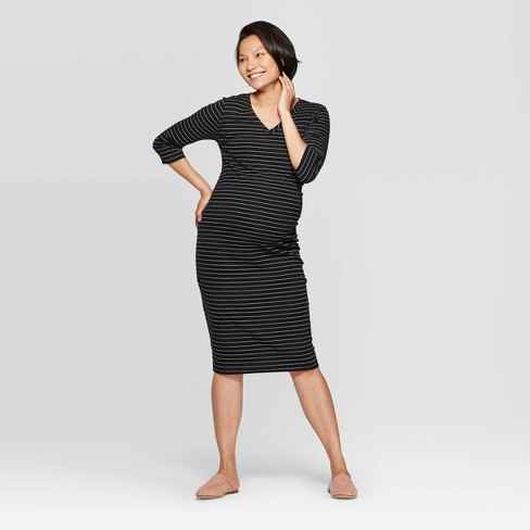 Maternity Striped 3/4 Sleeve Ribbed T-Shirt Dress - Isabel Maternity by Ingrid & Isabel™ Black - image 1 of 2