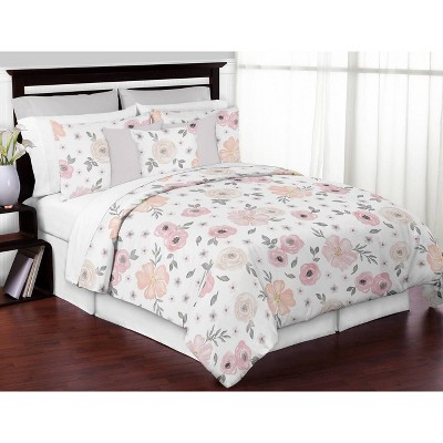 3pc Watercolor Floral Queen Bedding - Sweet Jojo Designs