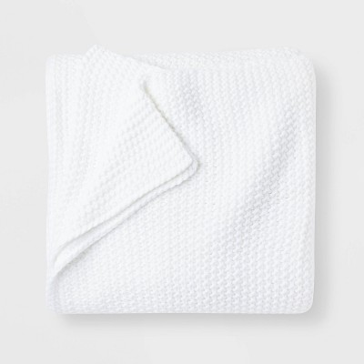 King Chunky Knit Bed Blanket White - Casaluna™