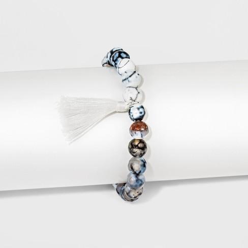 "Women's Silver Plated Howlite Stone White Tassel Bracelet - Silver (8"") - image 1 of 1"