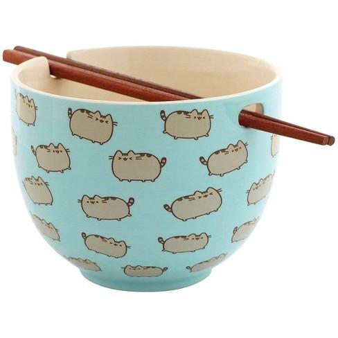 Enesco Pusheen the Cat Stoneware Rice Bowl with Chopsticks - image 1 of 3