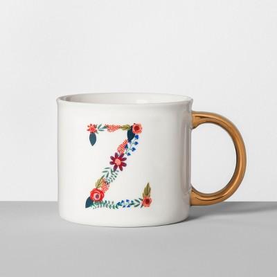Monogrammed Porcelain Floral Mug Z 16oz White/Gold - Opalhouse™