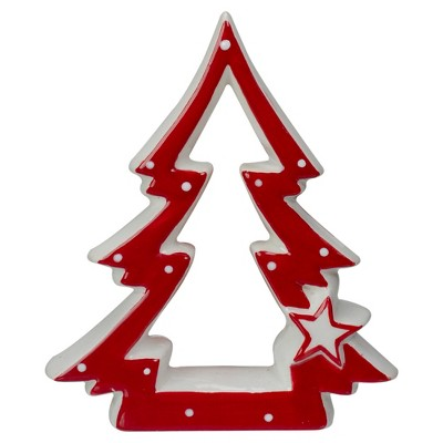 "Northlight 4.5"" Red and White Ceramic Christmas Tree Tabletop Decoration"