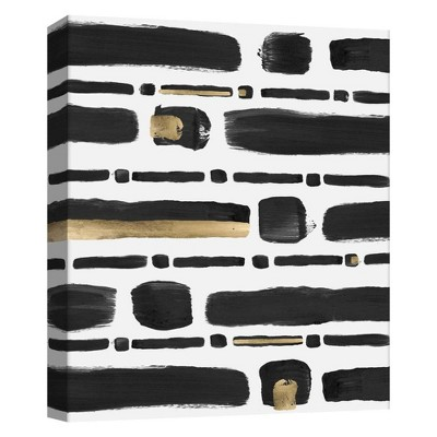 "11"" x 14"" Black And Gold Brushstrokes Decorative Wall Art - PTM Images"
