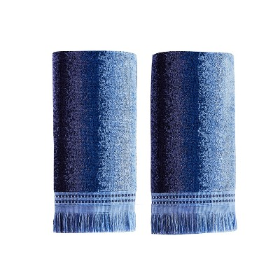 2pc Eckhart Stripe Hand Towels Set Blue - Saturday Knight Ltd.