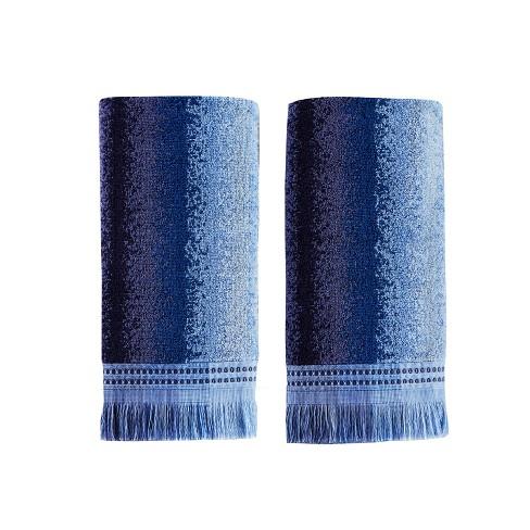 2pc Eckhart Striped Hand Towel Set Blue - SKL Home - image 1 of 3