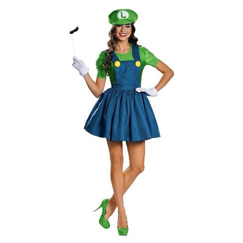 Super Mario  Women s Luigi With Skirt Costume   Target 4f6312c0c