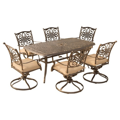 Traditions 7pc Rectangle Metal Patio Dining Set W Swivel Chairs Tan Hanover Target