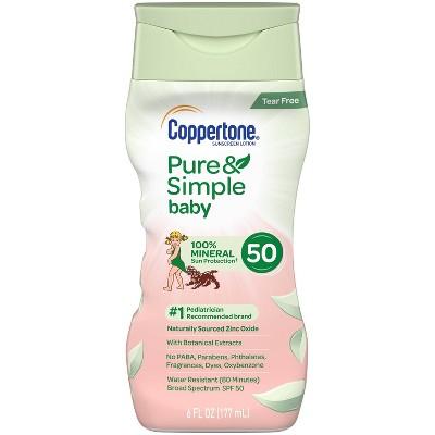 Coppertone Pure & Simple Baby Mineral Sunscreen - SPF 50 - 6 fl oz