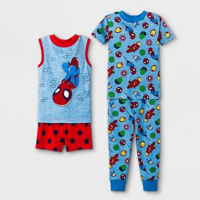 Toddler Boys' 4pc Marvel Spider-Man Snug Fit Pajama Set - Blue