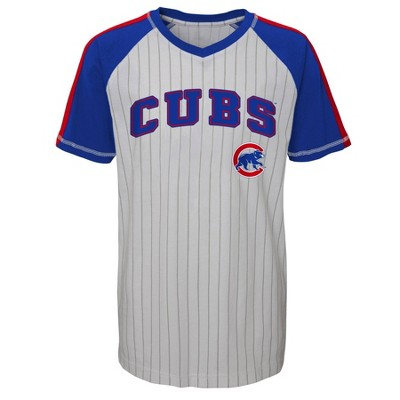 MLB Chicago Cubs Boys' Pinstripe V-Neck T-Shirt