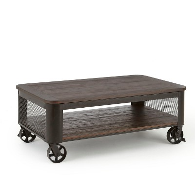 Barrow Lift Top Cocktail Table with Casters Industrial with Iron Base - Steve Silver