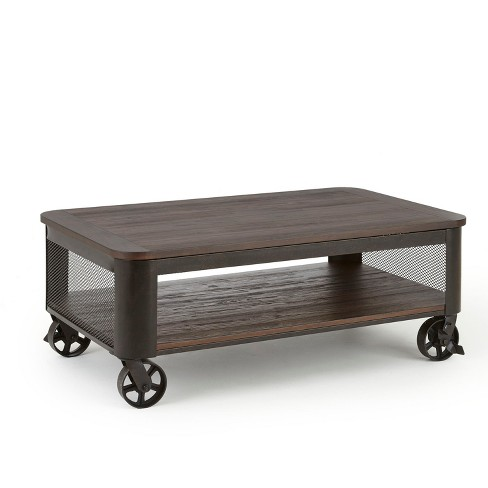Barrow Lift Top Cocktail Table with Casters Industrial with Iron Base - Steve Silver - image 1 of 3