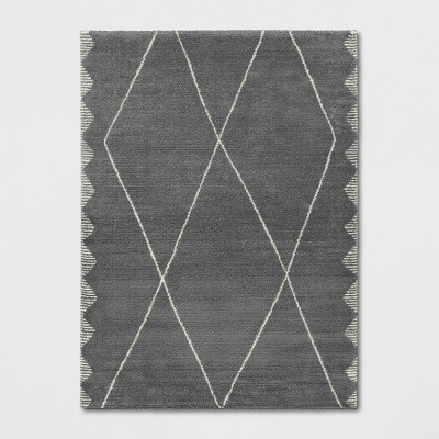 "9'2""X12' Glacier Diamond Woven Area Rug Charcoal Heather - Project 62™"