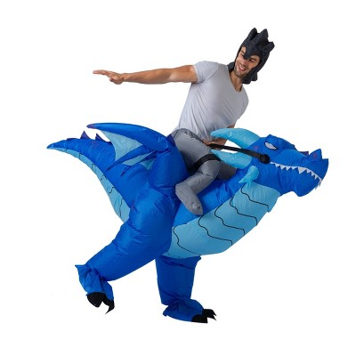 Adult 7' Blue Ice Dragon Ride-On Inflatable Halloween Costume One Size