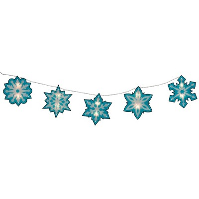 Impact Innovations 10ct Blue and White Snowflake Novelty Christmas Clear Light Set – 4.5-Feet, White Wire