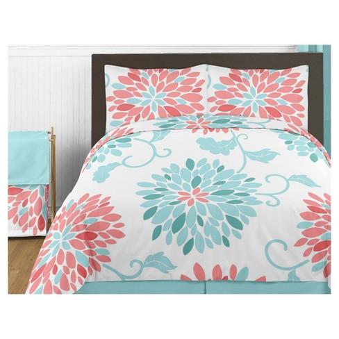 . Coral   Turquoise Emma Comforter Set  Full Queen    Sweet Jojo Designs