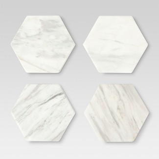 Set of 4 Stackable Coasters Marble White - Threshold™