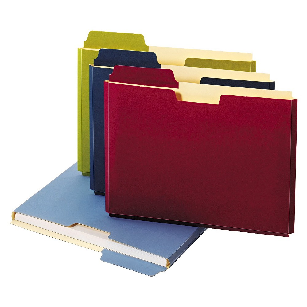 Globe-Weis Expanding File Folder Pocket, Letter, 11 Point Stock, Assorted, 10/Pack, Dark Blue/Lite Blue/Red/Green