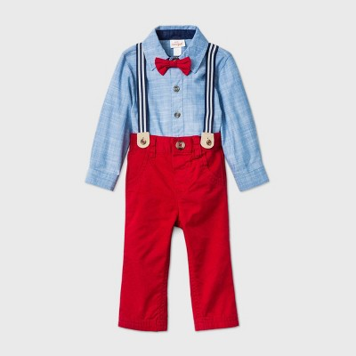 Baby Boys' 3pc Chambray Top & Bottom Set with Bow Tie - Cat & Jack™ Blue/Red 0-3M