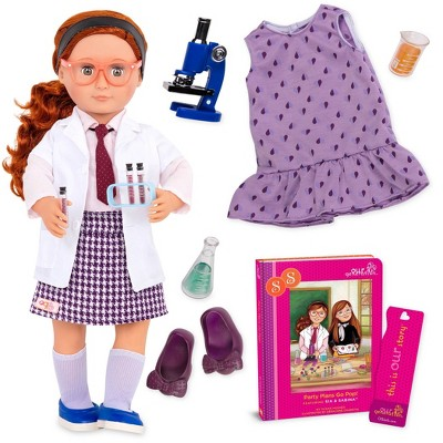 """Our Generation Sia with Storybook & Accessories 18"""" Posable Science Doll"""
