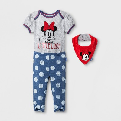 Baby Girls' Disney Mickey Mouse & Friends Minnie Mouse 3pc Short Sleeve Bodysuit, Leggings & Bib Set - Blue 0-3M