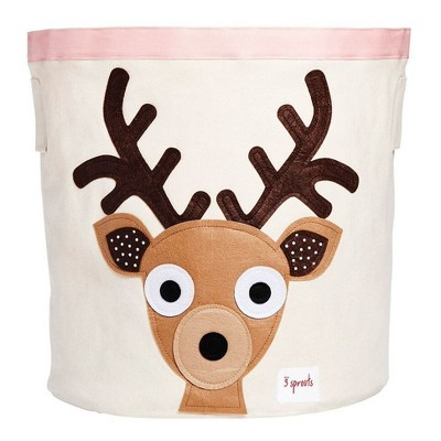 Extra Large Round Deer Canvas Kids Toy Storage Bin - 3 Sprouts