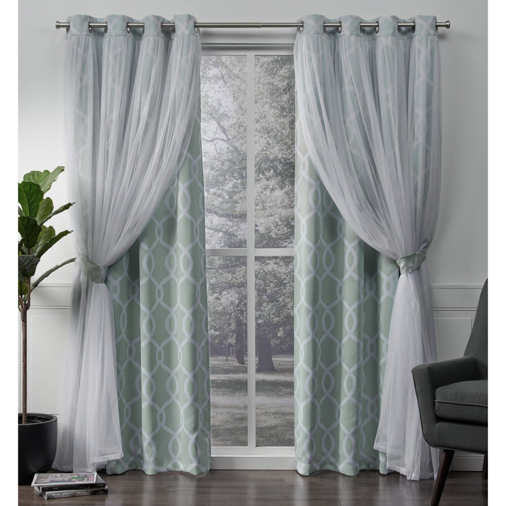 Carmela Layered Geometric Woven Blackout with Sheer Top Curtain panels Aqua (Blue) 52x96 - Exclusive Home