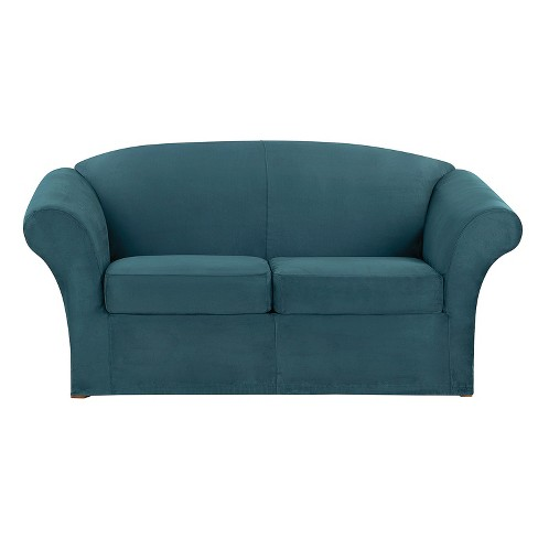 Superb Ultimate Stretch Suede 3Pc Loveseat Slipcover Peacock Blue Sure Fit Short Links Chair Design For Home Short Linksinfo