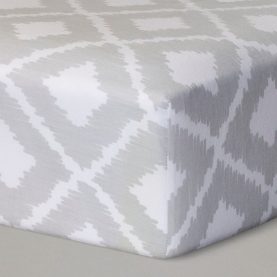 Fitted Crib Sheet Ikat - Cloud Island™ Gray