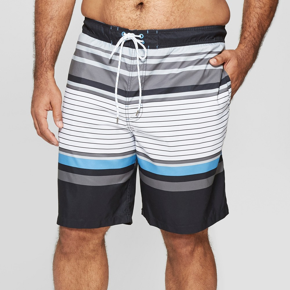 Men's Big & Tall 9 Striped Swim Trunks - Goodfellow & Co Black 5XB