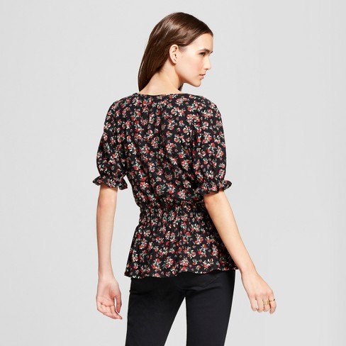 678c143ddd8208 Women s Floral Print Puff Short Sleeve Peplum Blouse - Alison Andrews Black    Target