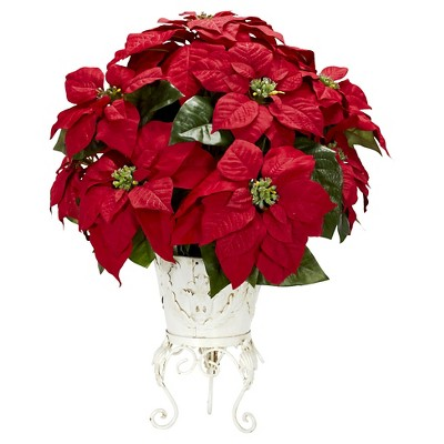 Poinsettia with Metal Planter Silk Flower Arrangement - Nearly Natural