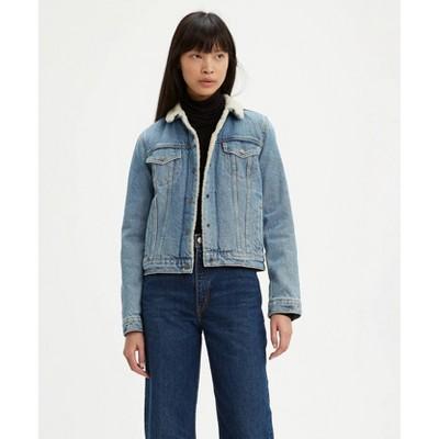 Levi's® Women's Original Sherpa Long Sleeve Trucker Jacket - Divided Blue
