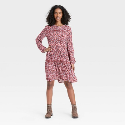 Women's Floral Print Long Sleeve Babydoll Dress - Knox Rose™