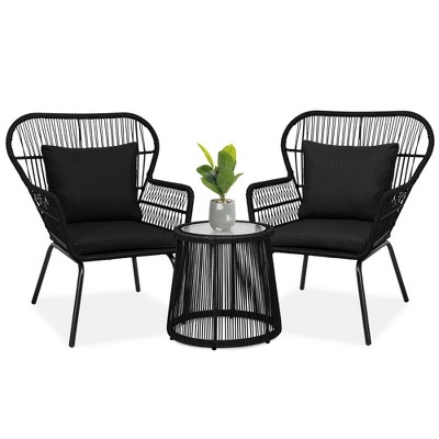 Best Choice Products 3-Piece Patio Conversation Bistro Set, Outdoor Wicker w/ 2 Chairs, Cushions, Side Table