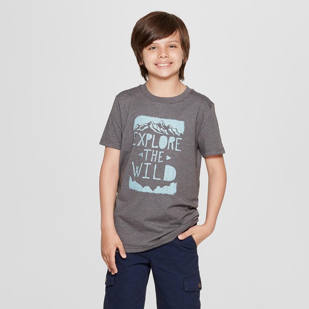 Boys' Short Sleeve Explore The Wild Graphic T-Shirt - Cat & Jack Gray L