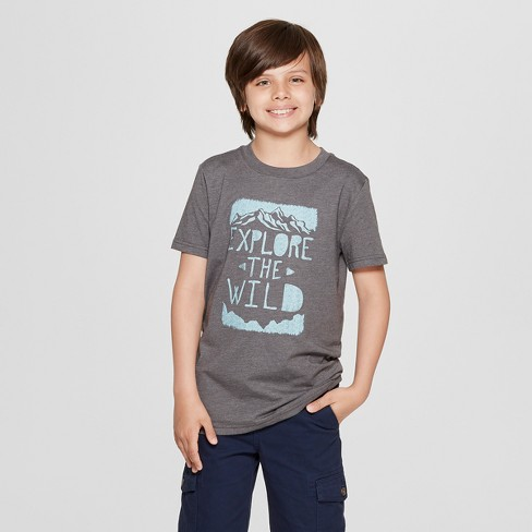 Boys' Short Sleeve Explore The Wild Graphic T-Shirt - Cat & Jack™ Gray - image 1 of 3