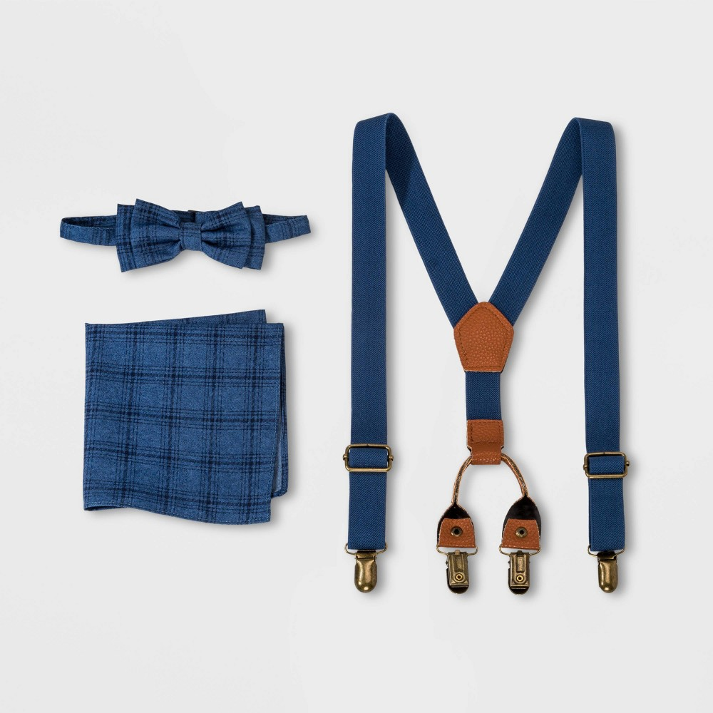 Image of Boys' Plaid Tie and Suspender Set - Cat & Jack Navy, Boy's, Size: One Size, MultiColored