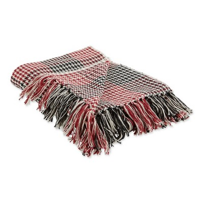 "50""x60"" Houndstooth Plaid Throw Blanket - Design Imports"