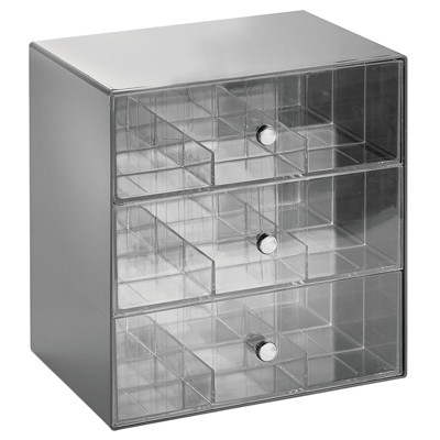 mDesign Plastic Kitchen Storage Tea Organizer, 3 Drawers - 27 Sections