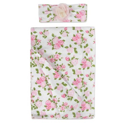 Baby Essentials Pale Floral Swaddle Blanket and Headband