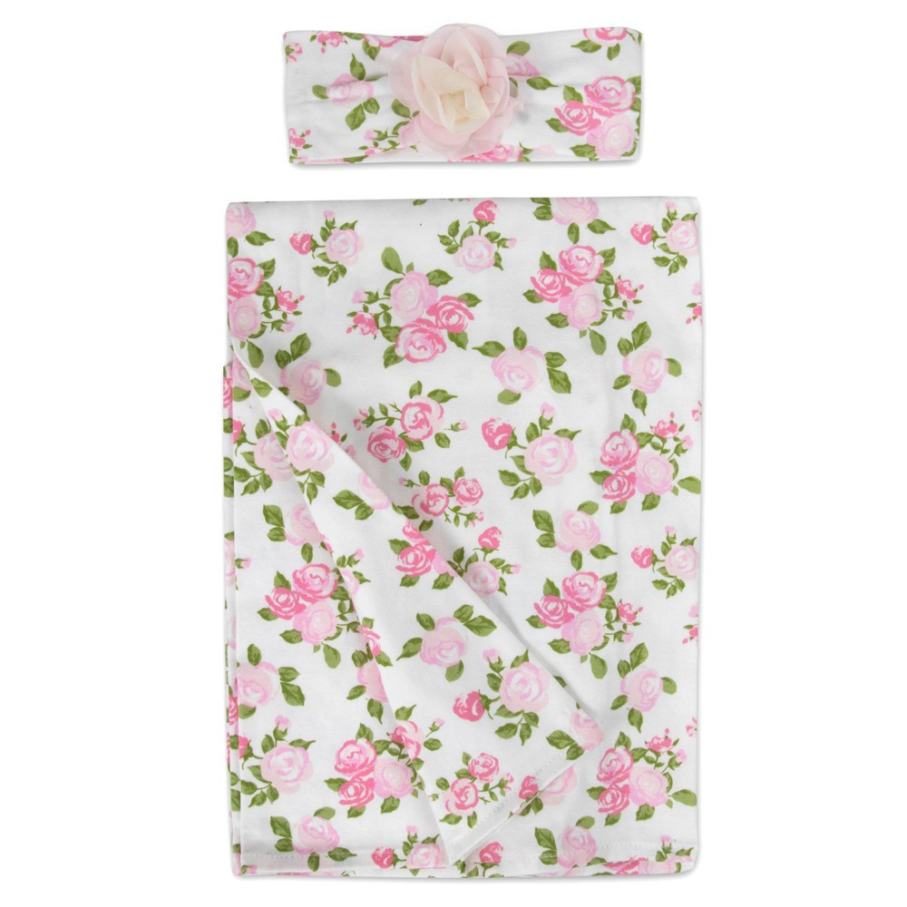 Image of Baby Essentials Pale Floral Swaddle Blanket and Headband