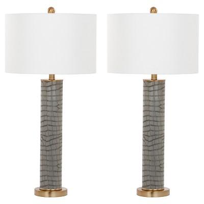 90ca5111fb Ollie Gray Faux Alligator Table Lamp Set Of 2 - Safavieh   Target