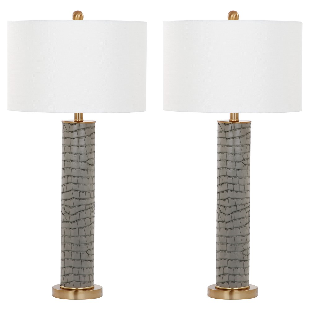 Image of Ollie Gray Faux Alligator Table Lamp Set of 2 - Safavieh