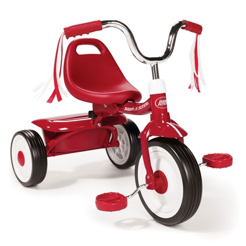 Radio Flyer 411S Kids Toddler Readily Assembled Adjustable Beginner Trike Tricycle Bike with Storage Bin and Handle Streamers, Red - image 1 of 4