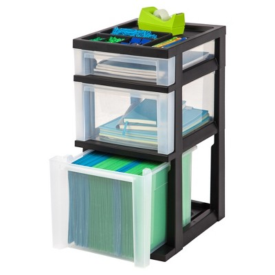 IRIS 3 Drawer Storage Cart With Organizer Top : Target